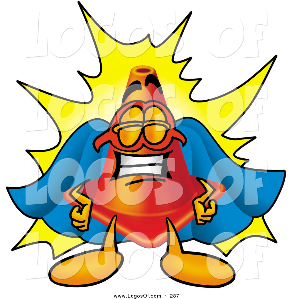Super 4 Cartoon Characters : Logo of a proud and smiling traffic cone mascot cartoon