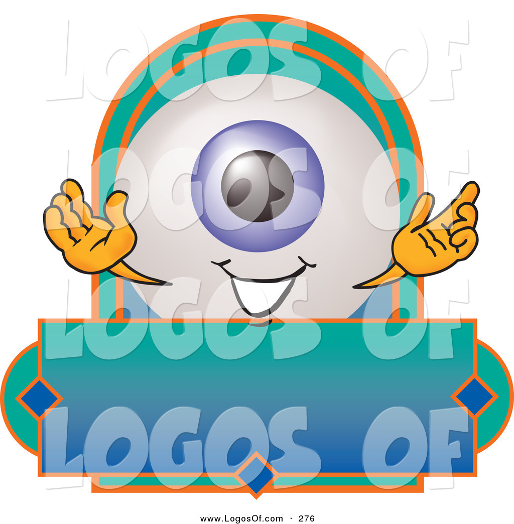 Logo Vector of a Cute and Smiling Eyeball Mascot Cartoon Character on ...