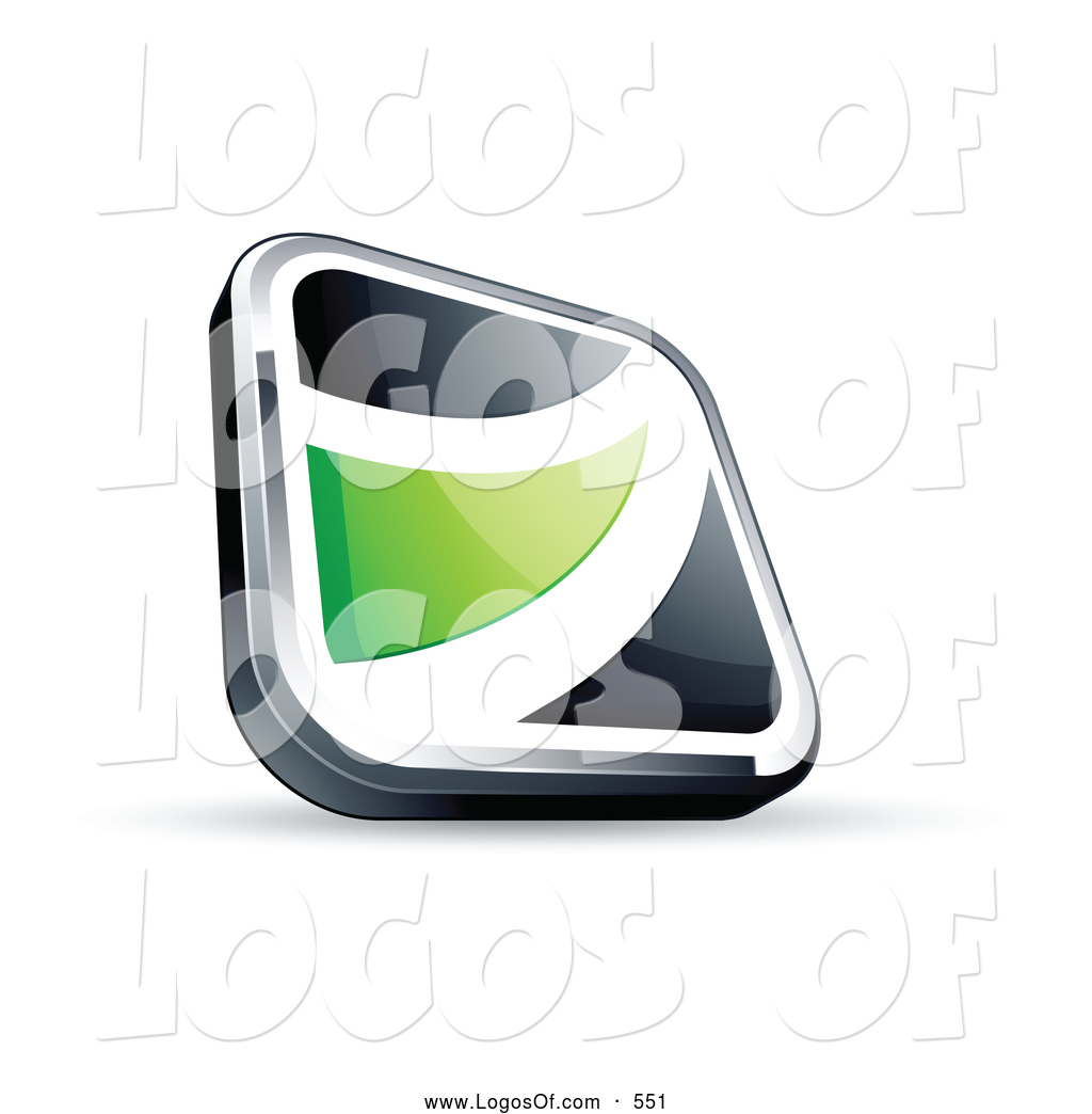 ... Logo Vector of a Shiny Black Square Button with a Green Wave by Beboy