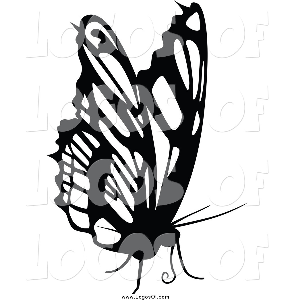vector clipart of a black and white butterfly logo by dero 2893