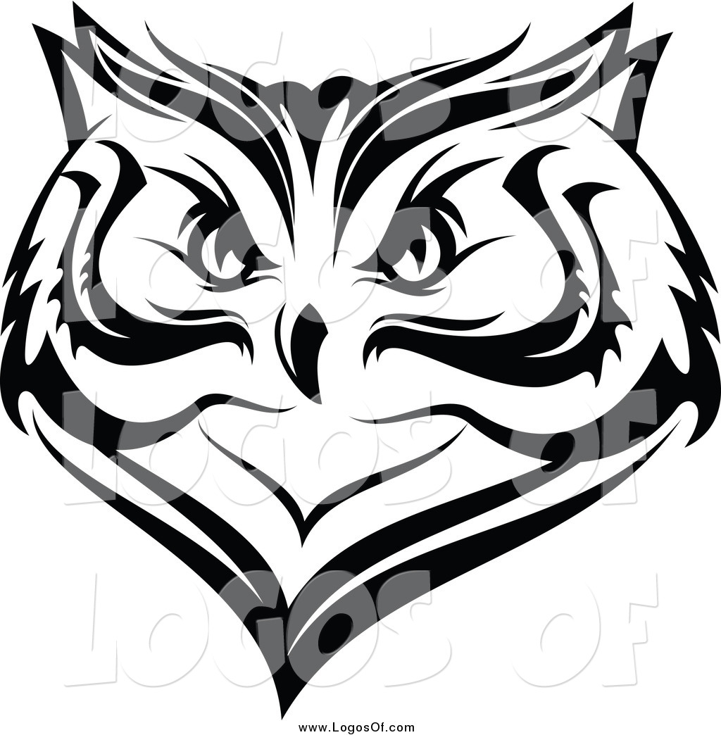 Vector Clipart of a Black and White Owl Face Logo by ...