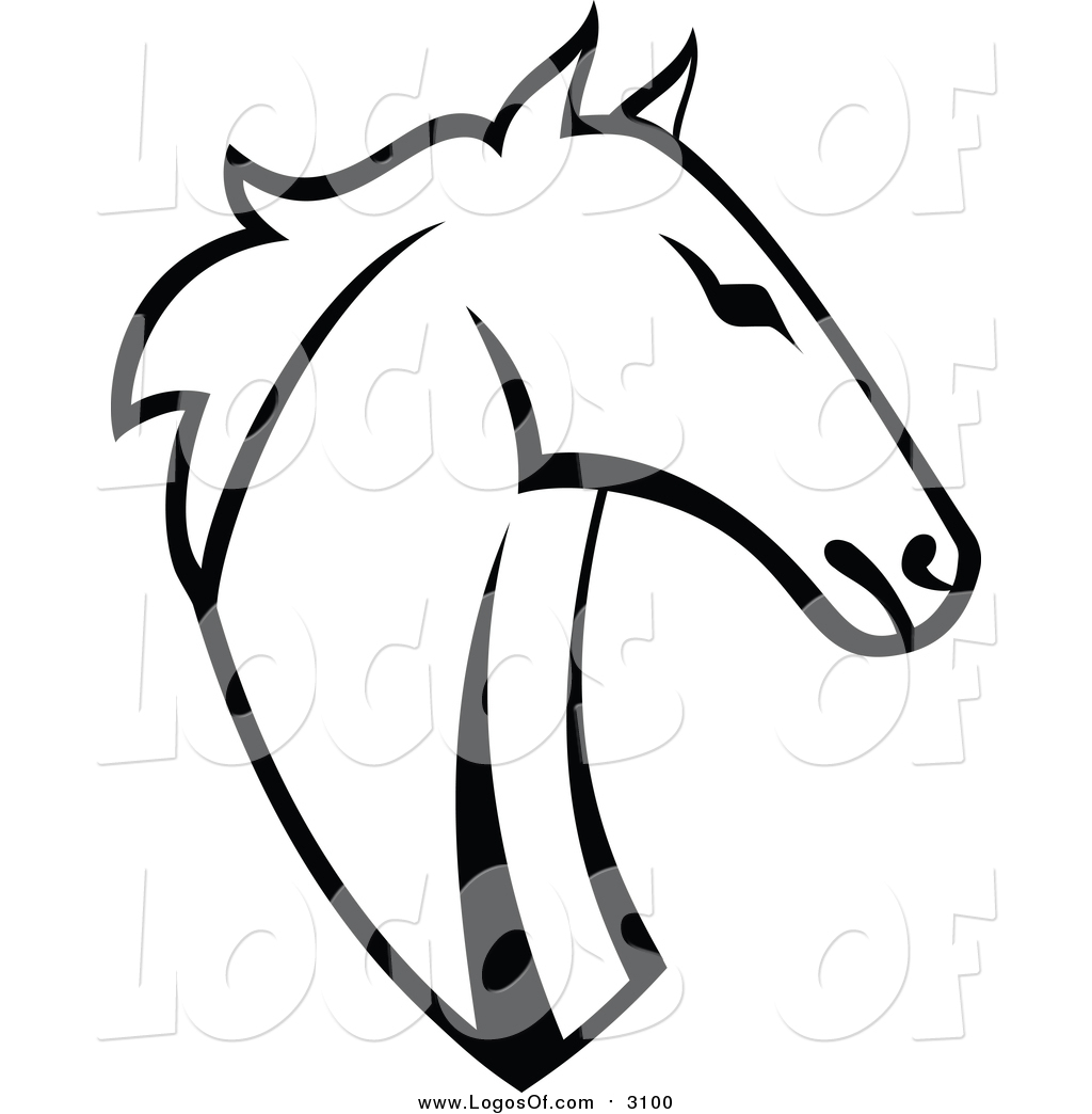 vector clipart of a horse head black and white logo