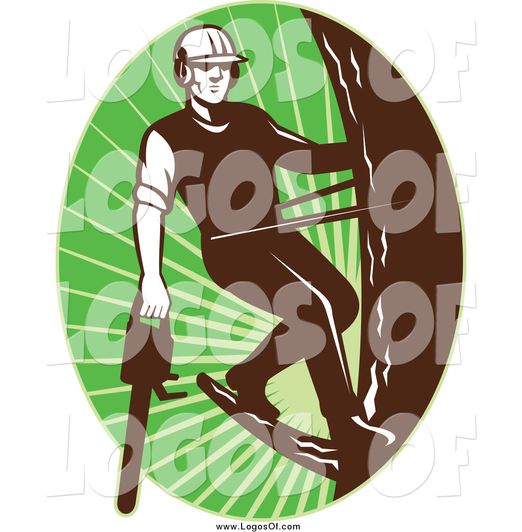 Vector Clipart of a Logo of a Male Tree Arborist Climbing ...