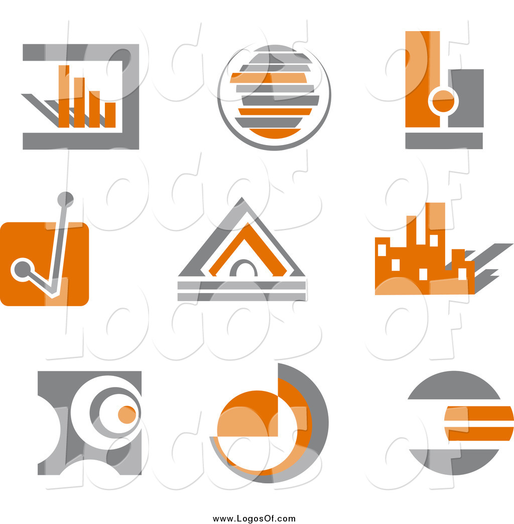 Finance Graphics: Vector Clipart Of Orange And Gray Business Finance Charts