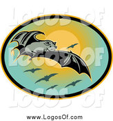 Clipart of a Flying Bat and Sunset Logo by Patrimonio
