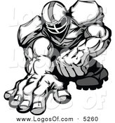 Clipart of a Muscular Football Lineman Player Crouched and Ready to Charge Forward - Grayscale Style by Chromaco