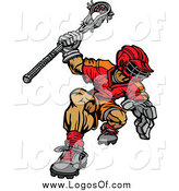 Clipart of a Muscular Lacrosse Player Logo by Chromaco