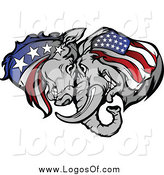 Clipart of a Republican Elephant and Democratic Donkey Butting Heads by Chromaco