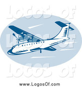 Clipart of a Retro Blue Commercial Airplane Logo by Patrimonio