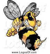 Clipart of a Stinging Aggressive Hornet Logo by Chromaco