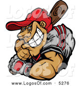 Clipart of a Strong Muscular Baseball Player Batting by Chromaco