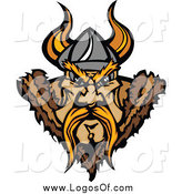 Clipart of a Tough Blond Viking Warrior Face Logo by Chromaco