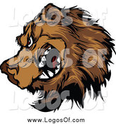 Clipart of a Tough Brown Bear Snarling Logo by Chromaco