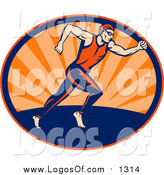Clipart of a Triathlon Runner in an Oval of Sunset Rays Logo by Patrimonio