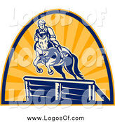 Clipart of an Equestrian on a Horse Leaping over an Obstacle Logo by Patrimonio