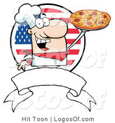 Logo of a Banner and American Pizza Pie Chef by Hit Toon