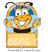 Logo of a Bee with a Blank Tan Sign by Toons4Biz