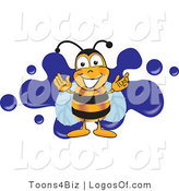 Logo of a Bee with a Blue Paint Splat by Toons4Biz