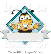 Logo of a Blue Diamond Bee and Banner by Toons4Biz