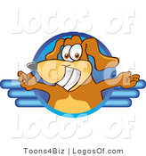 Logo of a Brown Dog and Blue Circle by Toons4Biz