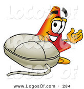 Logo of a Friendly Traffic Cone Mascot Cartoon Character with a Computer Mouse by Toons4Biz