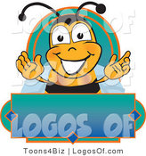 Logo of a Green and Blue Label with Bee by Toons4Biz