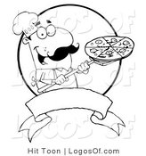 Logo of a Line Art Pizza Chef by Hit Toon