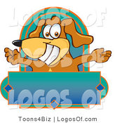 Logo of a Pooch with Open Arms Above a Blank Label by Toons4Biz