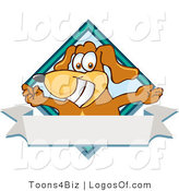 Logo of a Pooch with Open Arms over a Blank White Label by Toons4Biz