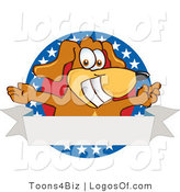Logo of a Pooch with Open Arms with a Blank Label by Toons4Biz
