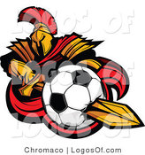 Logo of a Spartan Warrior with a Soccer Ball on His Sword by Chromaco