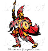 Logo of a Spartan Warrior with a Spear and Shield by Chromaco
