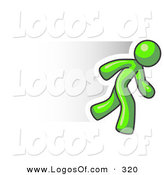 Logo of a Speedy Lime Green Business Man Running Quick by Leo Blanchette