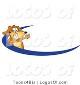 Logo of a Waving Dog over a Blue Swoosh by Toons4Biz