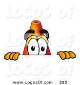 September 15th, 2012: Logo of an Orange Traffic Cone Mascot Cartoon Character Peeking over a Surface by Toons4Biz