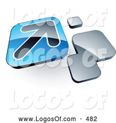 Logo Vector of a 3d Arrow on a Blue Box near Orange Squares by Beboy