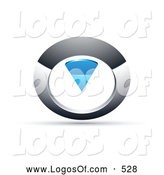 Logo Vector of a 3d Chrome and Blue Circular Knob by Beboy