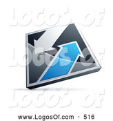 Logo Vector of a 3d Chrome and Blue Diamond with Arrows by Beboy