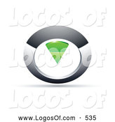 Logo Vector of a 3d Chrome and Green Circular Knob by Beboy