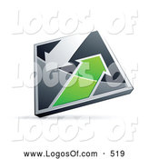 Logo Vector of a 3d Chrome and Green Diamond with Arrows by Beboy