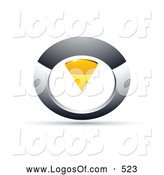 Logo Vector of a 3d Chrome and Yellow Circular Knob by Beboy