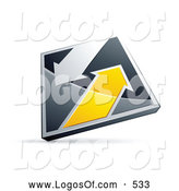 Logo Vector of a 3d Chrome and Yellow Diamond with Arrows by Beboy