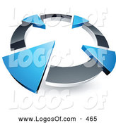 Logo Vector of a 3d Chrome Circle with Four Blue Arrows Pointing Inwards by Beboy