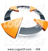 Logo Vector of a 3d Chrome Circle with Four Orange Arrows Pointing Inwards by Beboy