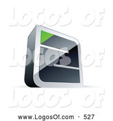 Logo Vector of a 3d Chrome Maze with a Green Triangle at the End by Beboy