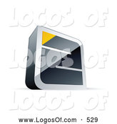 Logo Vector of a 3d Chrome Maze with a Yellow Triangle at the End by Beboy