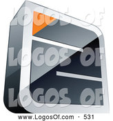 Logo Vector of a 3d Chrome Maze with an Orange Triangle at the End by Beboy