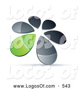 Logo Vector of a 3d Circle of Chrome and Green Droplets Forming a Windmill by Beboy