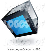 Logo Vector of a 3d Cube with One Blue Transparent Window by Beboy