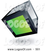 Logo Vector of a 3d Cube with One Green Transparent Window by Beboy